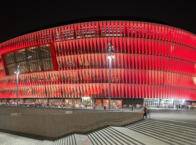 UEFA Euro 2020 venue San Mames Stadium in Bilbao in a presentation by IDOM's architect Diego Rodriguez Segura at RIFF Bucharest